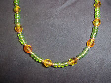 Handmade GREEN & TAN 15 inch Beaded NECKLACE CHOKER C-01 by Quality Jewelry