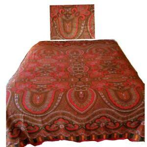 Isaac Mizrahi Duvet Cover + Sham Paisley Pop Boho Bohemian Red Paisley Full Size