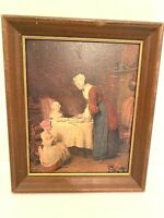 "Vintage Reproduction Chardin Saying Grace in Frame Rough Condition Salvage 12"" x"