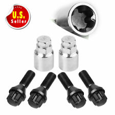 4+2 Black 12x1.5 Wheel Lock Spline Lug Bolt Nuts for Honda Acura Toyota BMW Ford