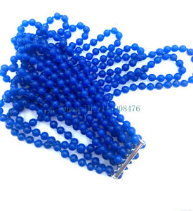 New 6 rows Charming 6mm sapphire jade beads necklace AAA
