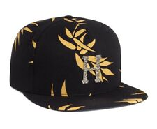 e5d58e9c527 Huf HAMMERED METAL H Black Yellow Print Gold Logo Leather Strapoback Men s  Hat