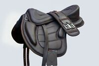 """NEW SOFT LEATHER TREELESS HORSE SADDLE BLACK & BROWN COLOR SIZE 16"""", 16.5"""" & 17"""""""