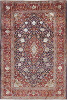Pre-1900 Wool/Silk Vegetable Dye Kashaan Dabir Antique Oriental 5x7 NavyArea Rug