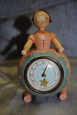 Vintage wooden folk art clock  girl pink Sheffield W. Germany