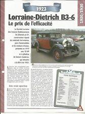 VOITURE LORRAINE-DIETRICH B3-6 FICHE TECHNIQUE AUTO 1923 COLLECTION CAR