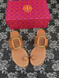 Tory Burch Ravello Studded Sandal Toe Ring Size 9 Tan Leather