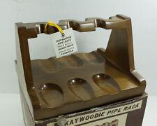 Vintage Kaywoodie Six Pipe Holder Rack Stand Pipeholder Hanoki Wood New In Box
