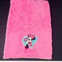 Disney Baby Minnie Mouse Holding Flower Green Blue Heart Furry Pink Blanket