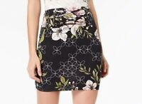 Guess Womens Skirt Black Size XS Stretch Knit Floral-Print Lattice $69 201