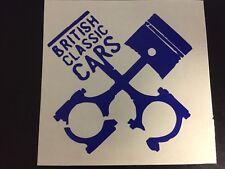 BRITISH CLASSIC CARS STICKER DECAL PISTON AND CONROD CROSS DESIGN **POST FREE**