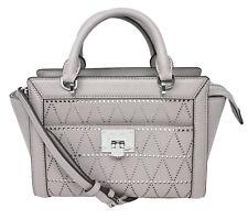 Michael Kors Tina Saffiano Leather Small Satchel Messenger Pearl Grey Bag $348