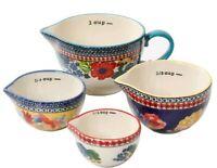 "Pioneer Woman ~ Set of Four (4) ""Dazzling Dahlias"" Stoneware Measuring Cups"