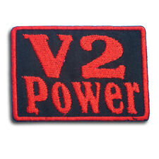 V2 Power Patch Iron on Chopper Biker Rider Car Vest Racing Motorcycle Engine