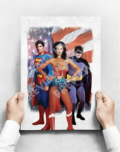 Original Heroes  - Poster A3 Size Superman Batman Wonder Woman