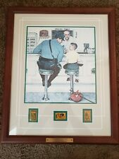 """Rockwell """"The Runaway""""  3 STAMPS ONE OF A KIND Framed Art Police Law  22"""" X 18"""""""
