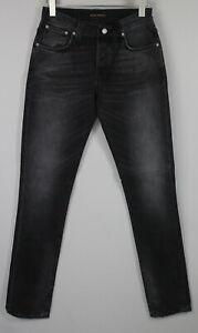 NUDIE Jeans GRIM TIM BLACK HAZE Men's W31/L36 Slim Stretchy Organic Jeans 1169_