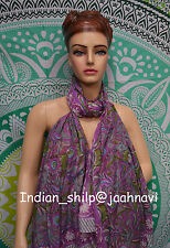 Indian Fashion Women Long Block Print Cotton Scarf Wrap Sarong Shawl Large Art