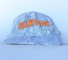 Vtg Oklahoma Roads River Topo Map Baseball Cap Hat Sm-Med Men's Made in USA