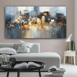 City Building Rain Boat Pictures Abstract Art Canvas Painting Modern Decoration