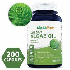 NusaPure Omega 3 - Algae Oil 1400mg 200 Powder Capsules (Non-GMO & Gluten Free)