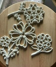 3 vintage Homco wall decorations wicker flowers