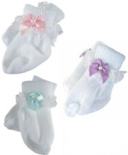 """3 Pair Lace Trim Socks w/ Pastel Ribbon Bows for 18"""" American Girl Doll Clothes"""