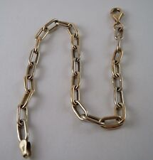100% Genuine Vintage 9K Hollow White and Yellow Gold Chain Link Bracelet 20cm.