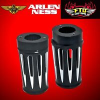 Arlen Ness Black Retro Fork Boot Covers for 2000-2013 HD Touring 20-004