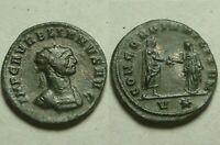 Rare genuine Ancient Roman coin/Emperor Aurelian 274 AD Concordia V star Siscia