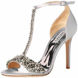 Badgley Mischka Women's Veil Ii Heeled Sandal, Silver/Metallic Suede, Size 7.0
