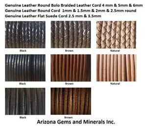 Genuine Leather Braided & Round & Suede Sizes 1mm thru 6mm Quantity1Ydthru20 Mtr