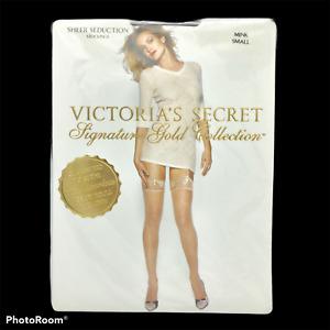 NOS Vtg Victorias Secret Signature Gold Collection Seduction Stockings Mink Sz S