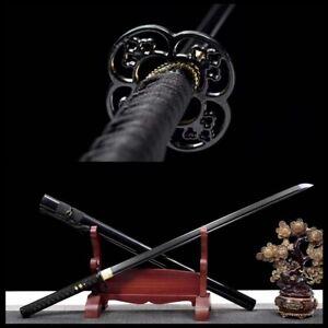 handmade Black 1060 Steel Blade Japanese Samurai Sword katana Full Tang Sharp