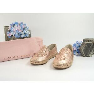 Sophia Webster Rose Gold Leather Butterfly Espadrille Flats 36 NIB