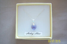 """TANZANITE CRYSTAL HEART PENDANT ON AN 18"""" STERLING SILVER 925 CHAIN BRAND NEW"""
