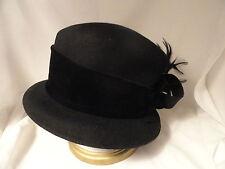 Ladies Black Wool Dress Hat Church Large