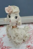 """VTG Spaghetti French Poodle Sitting Pink and Gold Accents Japan 1950s 4.75"""" tall"""