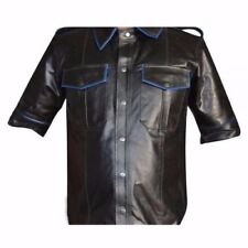 Men's leather Short Sleeve Shirt With Piping