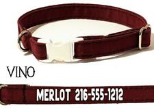 Personalized Burgundy Kitty Cat Safety Collar Breakaway Buckle Adjustable Cotton