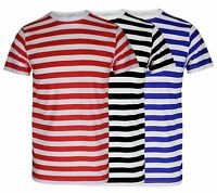 Mens Boys Black Blue Striped T-Shirt Top Red And White Stripe T Shirt Book Weeks