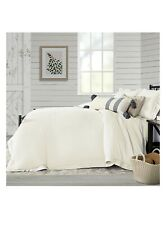 Bee & Willow Washed Layered Trim Full/Queen 3pcs Duvet Cover Set In coconut milk