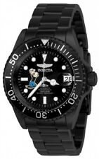 New Mens Invicta 24488 Character Collection Automatic Black Steel Bracelet Watch