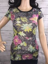 Daytrip XS Semi-Sheer Floral Ringer T-Shirt Abstract Tropical Floral Design Teen