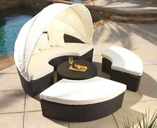 HUGE Wicker Rattan Outdoor Sun Lounger Canopy Day Bed Patio Set + Coffee Table