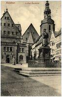 EISLEBEN Sachsen-Anhalt 1909 Häuser Strassen Partie am Luther Denkmal alte AK