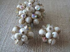 VINTAGE WHITE  GLASS BEAD BROOCH  CLIP EARRINGS Mid Century Estate Jewelry
