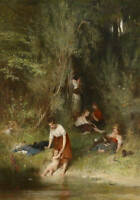 No framed Oil painting young mother with children bathing by the river landscape