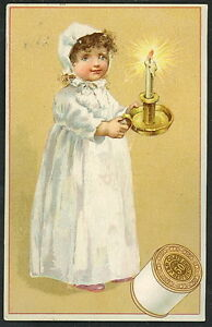 J P Coats Thread - Trade Card - Girl in Nightgown & Candlestick  M214