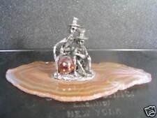 Pewter 2 Skeleton'S Sitting On Agate Stone Slab